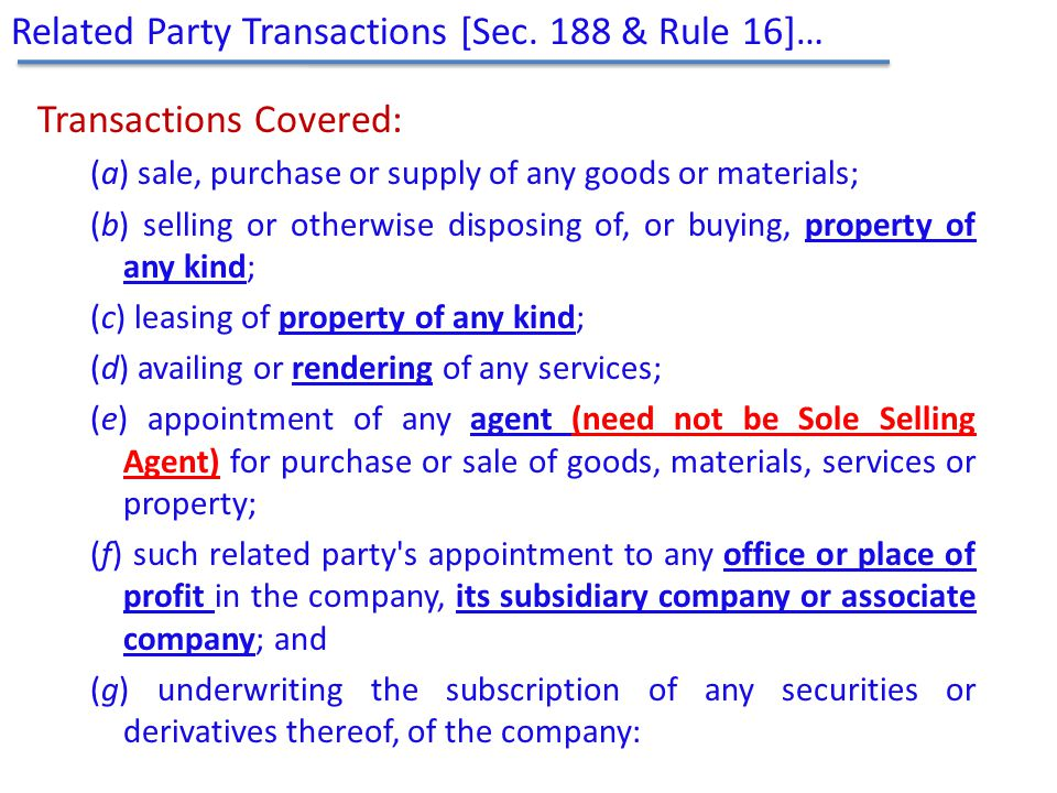 Related Party Transactions [Sec. 188 & Rule 16]…